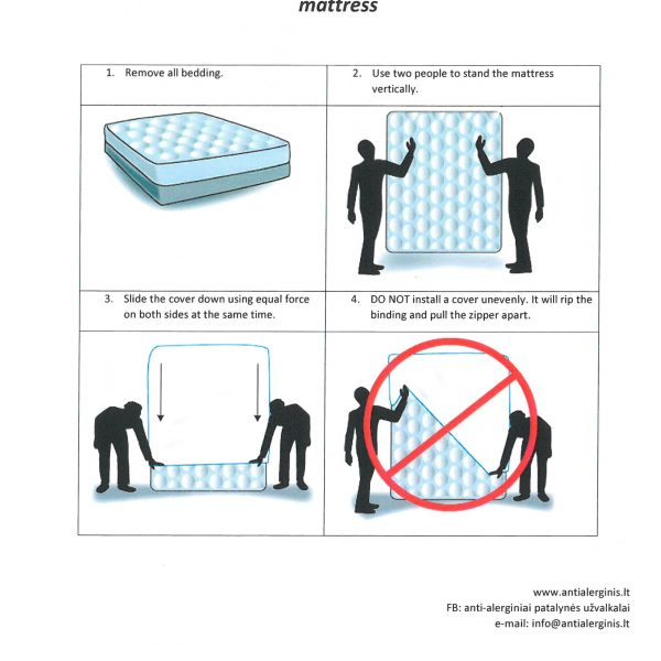 Anti-dust mite mattress cover with zipper
