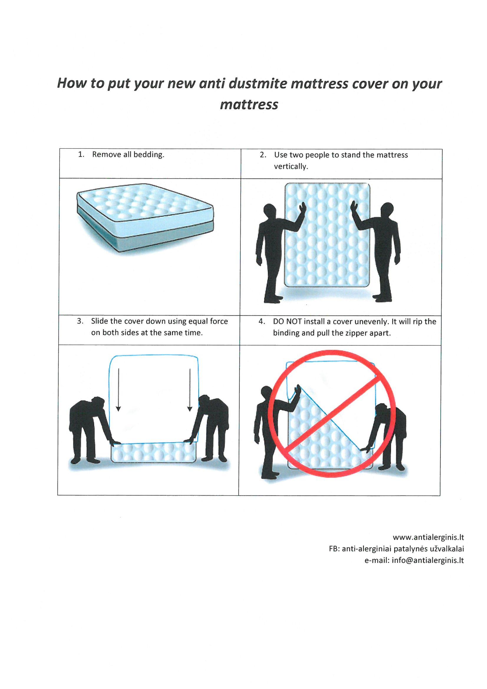 Anti-alerginis čiužinio užvalkalas su užtrauktuku
