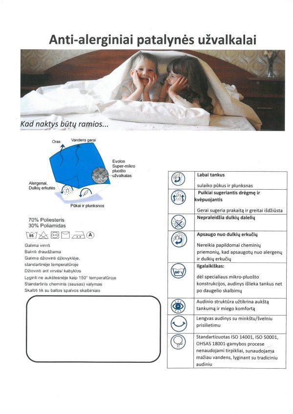 Anti-alerginis pagalvės užvalkalas